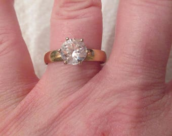 Estate Solid 14K Gold 2ct Simulated Diamond CZ Wide Band Engagement Ring by TESSLER & WEISS signed 14K and Tw famous designer Circa 1950