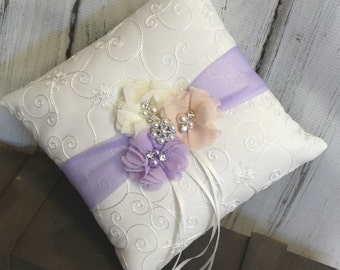 Your Color , Lavender Blush Ivory/White  Ring Bearer Pillow , Ring Bearer Pillow , Wedding Ring Bearer Pillow