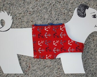 "Cotton Dog Walking Harness Vest, Nautical Anchors Aweigh size xs (Chiweenies, Chihuahuas, Min-Pin, Dachshunds, 7-11 lbs) 15.5"" girth"