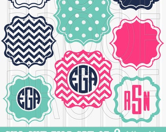 Monogram SVG Files Set of 8 cutting files SVG/PNG/jpg formats Commercial use ok! chevron svg frame scallop monogram {no letters included}