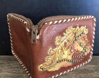 Vintage Western Tooled Leather Wallet  - Wild West Horse - 1950's Tooled Wallet - Rodeo Collectible - Western Souviner