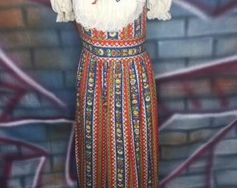 Vintage 70's Ladies Multi-Color Long Dress