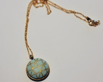 Mint Green and Gold Geometric Pendant Necklace
