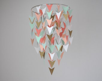 Arrow/Chevron/Tribal/Triangle Nursery Mobile -  Coral, Mint, Peach, Gold // Choose Your Colors