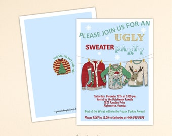 Christmas Ugly Sweater Party Invitation, Holiday Party, Holiday Ugly Sweater Party, Christmas Invite C1512
