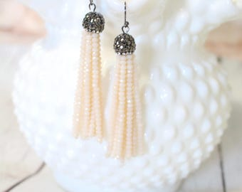 The Sofia - Pave and Pink - Gunmetal Earrings