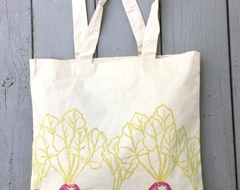 Tote bag, farmers market, beet, reusable grocery bag, mothers day gift, gift for her, block print bag
