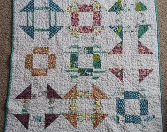 Succulent Churn Dash Quilt, Gender Neutral, Baby Blanket, Crib Quilt, Toddler Blanket, Snuggle Quilt, Throw Blanket, Travel Blanket