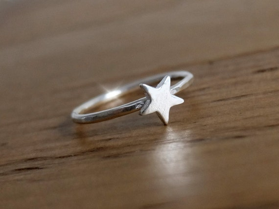 Tiny Star Ring, Silver Ring with Star, Star on Silver Ring, Dainty Star Ring, Graduation Gift, Bridesmaids Gift, Cute Star Ring,