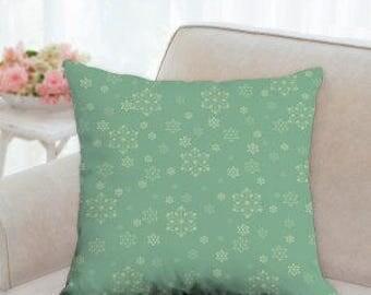 Green & White Christmas Snowflake Pillow