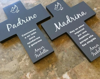 Spanish El padrino -  Padrino Madrina wall la cruz el regal cross  set. personalized with bottom name bottom. gift - 1st communion Baptism