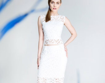 lace skirt, gipiure skirt, white skirt, off white skirt, textured lace skirt, summer pencil skirt