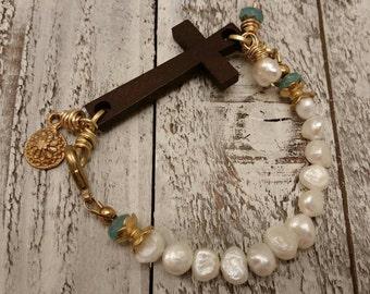 Wood Cross Freshwater Pearls Brass Bohemian Bracelet