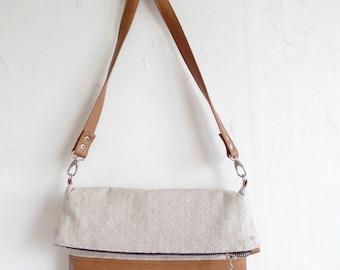Crossbody leather bag, Geometric cross body bag, Foldover crossbody bag, Linen crossbody purse,