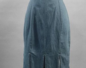 1980s Denim CHAMBRAY DRESS w/ paneled fringe hem