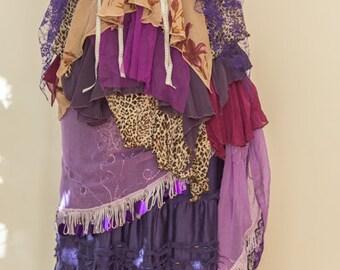 Gypsy Purples Reds Ragged Handkerchief Outfit/Dress/Top/Skirt Boho Bohemian Alternative Festival Stevie Nicks Style Gipsy Romantic Fairytale