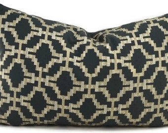 Dark Gray & Beige Embroidered Moroccan Lumbar Throw Pillow Cover, 14x22