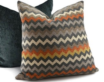 Orange, Gray, Gold & Cream Chenille Chevron Throw Pillow Cover, Modern Chevron Pillow Cover, 20x20