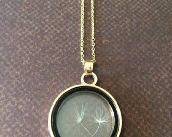Dandelion Necklace - Dandelion Jewelry - Dandelion Seed Necklace - Glass Pendant - Glass Necklace - Glass Jewelry - Make a Wish Necklace
