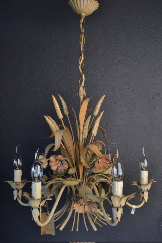 Beautiful tole flower chandelier with wheat and flowers (RESERVED)