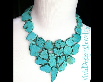 Turquoise Triangle Bib Necklace-Triangle Jewelry -Statement Necklace- Bib Neclace- Turquoise Bib Jewelry- Turquoise Stone Statement Necklace