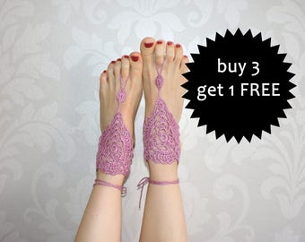 Lace Barefoot Sandals, Crochet Foot Jewelry, knitted foot jewerly, pink feet decoration, m-009