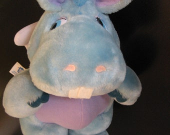 "Vintage Plush 1984 - HASBRO WUZZLES - HOPPOPOTAMUS The Hippo - Hippopatumus Stuffy - Blue with Angel Wings - 12"" Tall - Perfect Condition!"