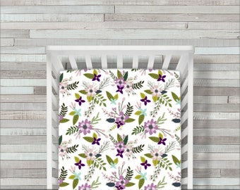 Floral Springs Crib Sheet, Purple Baby Bedding, Baby Crib Sheets, Fitted Crib Sheet, Mermaid Bedding, Crib Bedding, Baby