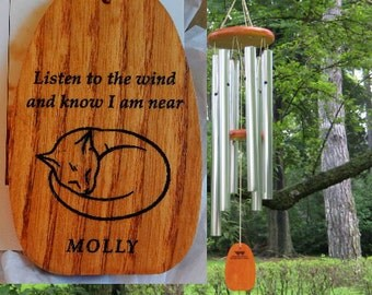 Personalized Wind Chimes - SLEEPING CAT - Cat Loss, Cat Lady Gift, Cat Lover, Cat Memorial, Kitty Loss, Pet Memorial, Cat Chime, Pet Loss