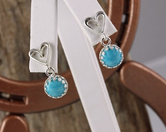 Sterling Silver Dangle Earrings - Blue Turquoise Dangle Earrings - 8mm Blue Turquoise Stones on Sterling Silver Heart Posts