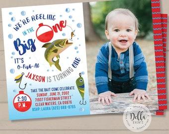 Fishing Birthday Invitation, Watercolor Fishing Invitation, The Big One, O-Fish-Ally Birthday Invite, Fishing invite, Gone Fishing
