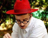 SALE Christmas fedora hat for Men / classical hat / Red felt winter autumn wide brim hat fedora trilby hat / Hat for him