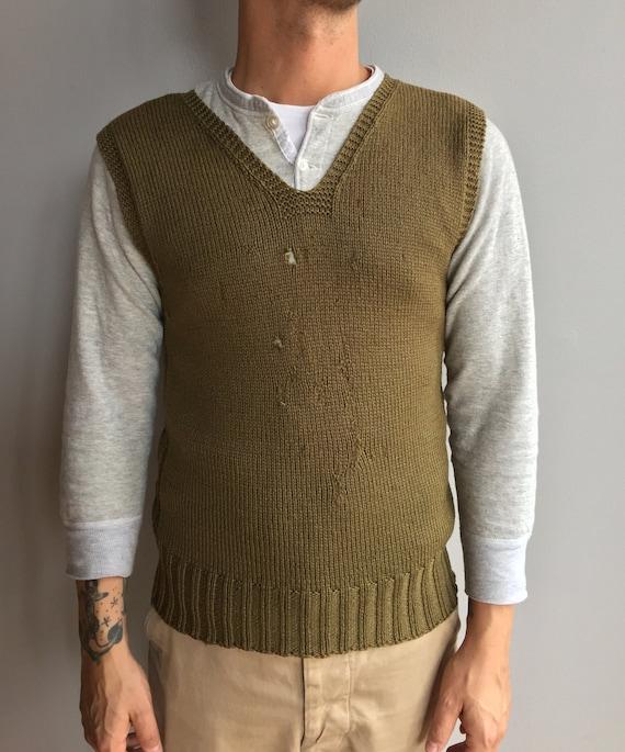 WW2 American Red Cross Green knit V-Neck Sweater Vest