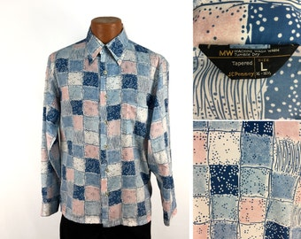 Vintage 70s Patterned Polyester JC Penneys Button-Down Pocket Shirt LARGE // 1970s // Disco Era // Long Pointy Collar // Mens // Throwback