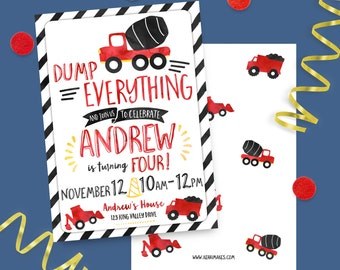 Construction themed Birthday Party PRINTED INVITATIONS watercolor invites cement truck digger gravel trucks boy invite