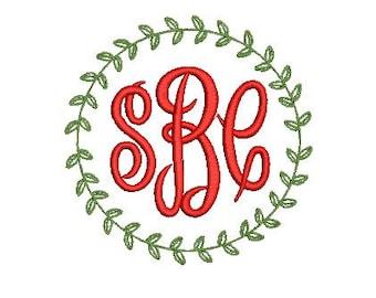 Laurel Leaf Vine  Frame Design File for Embroidery Machine Monogram Applique Instant Download