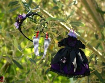Blythe Witch Outfit Set Dress Headband and Socks