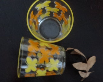 Vintage Libbey Juice glasses - set of two - yellow and orange butterflies - yellow rim - like new