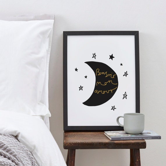 A4 French Love Print A4 - French poster - French quote - Nursery print - moon and stars - Nursery art
