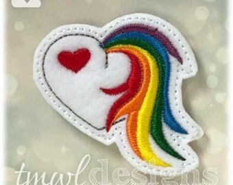 """Unicorn Tail Heart Feltie Digital Design File - 1.75"""""""