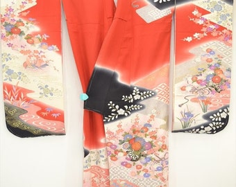GEISHA FURISODE L24a - Beautiful kimono decorated with Chrysanthemums & Plum Blossom with some embriodery