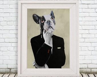 Frenchie poster, James Bond bulldog, frenchy print, boston terrier, Holiday Gift, human bulldog, human animal, Coco de Paris