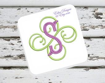 Fishtail Swirl Monogram Machine Embroidery Monograms Monogram Fonts Digital Download