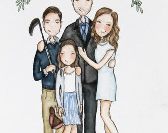 Custom illustration/ Personalized Portrait. Adorable Watercolor, couples, Birthday, Anniversary, wedding (4 people, 1 lg and 4 sml extras)