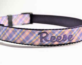 "Personalized Dog Collar / Purple Plaid / Dog Collar / Made to Order / 1"" wide"