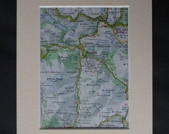 Map of Bormio, Winter Sports Decor, Available Framed, Italian Art, Skiing Picture, Lombardy Print, Ski Gift, Sondrio Wall Art, Alpine Town