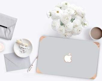 Platinum Edition Shades of Gray with w/Rose Gold Edge Hybrid Hard Case for Apple Mac Air & Mac Retina , New Macbook 2016 Touch