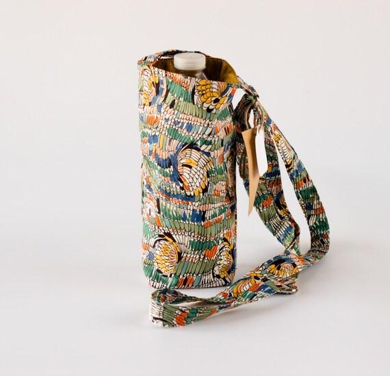 Feather Water Bottle Holder, Cross Body Water Bottle Sling, Wings, Blue, Green, Orange, Gold Cotton Fabrics, Handmade