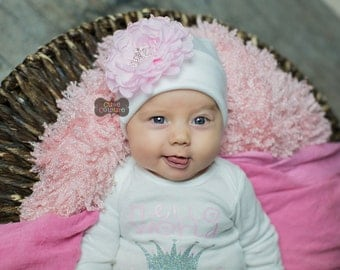 BABY GIRL BEANIE-Hospital Hat-Baby girl hat-baby beanie, baby girl, cotton baby hat, princess hat, flower beanie-boutique style-crown