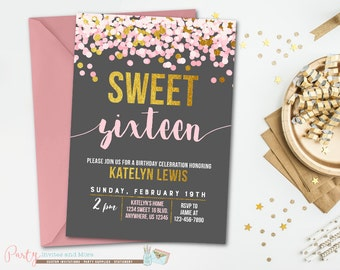 Sweet 16 Birthday Invitation, Sweet 16 Invitation, Pink and Gold Birthday Invitation, 16th Birthday Invitation, Sweet 16 Birthday Party